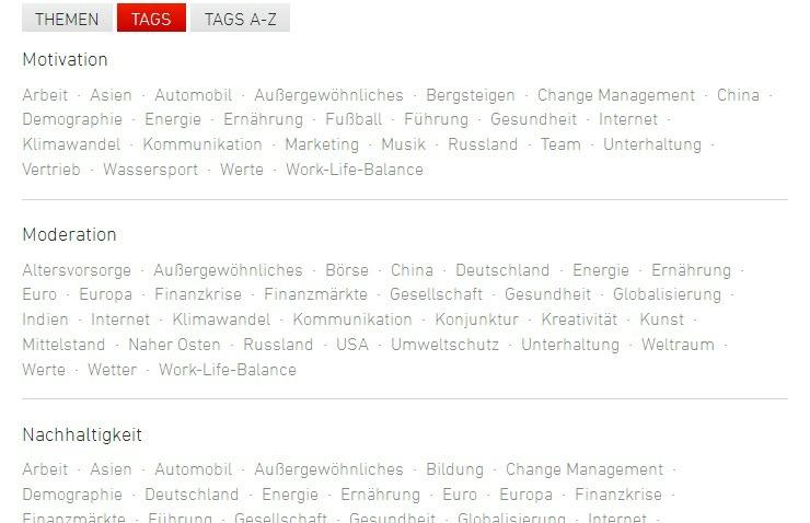 Econ Referenten-Agentur Neue Internetseite mit Tags