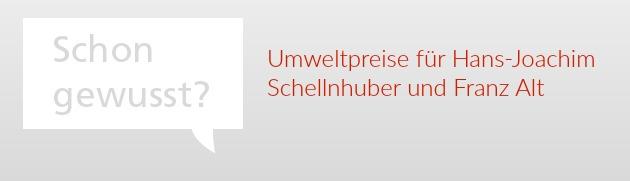 ECON Redner Franz Alt und Hans-Joachim Schellnhuber erhalten Umweltpreise